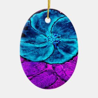 Ornamento De Cerâmica Azuis do hibiscus