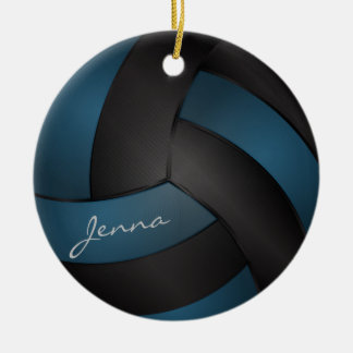 Ornamento De Cerâmica Azuis e pretos profundos personalizam o voleibol