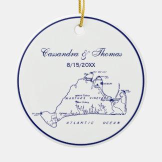 Ornamento De Cerâmica Azuis marinhos do mapa #1 do vintage do Martha's