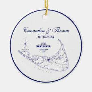 Ornamento De Cerâmica Azuis marinhos do mapa do vintage das MÃES da ilha