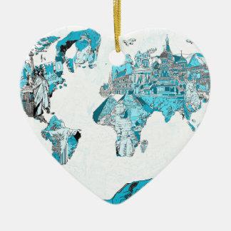 Ornamento De Cerâmica azul 2 do mapa do mundo