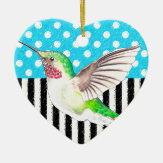 Ornamento De Cerâmica Azul artística do colibri