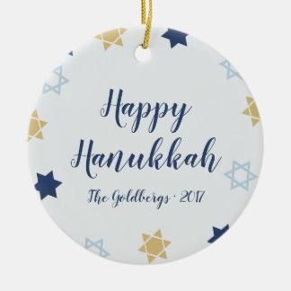 Ornamento De Cerâmica Azul bonito e ouro da estrela de David | Hanukkah