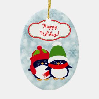 Ornamento De Cerâmica Azul de bebês bonito Bokeh do pinguim