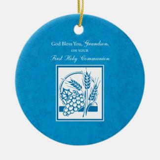 Ornamento De Cerâmica Azul do comunhão do neto primeiro, trigo, uvas