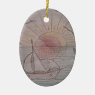 Ornamento De Cerâmica Azul do sol do divertimento