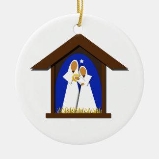 Ornamento De Cerâmica Azul e ano do costume da natividade do White