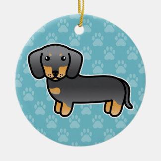 Ornamento De Cerâmica Azul e cão liso dos desenhos animados do Dachshund