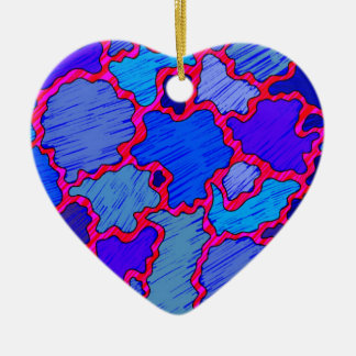 Ornamento De Cerâmica Azul e cor-de-rosa abstratos