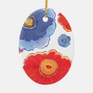 Ornamento De Cerâmica Azul e papel de parede de Red_Floral