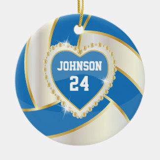 Ornamento De Cerâmica Azul elegante, branco e voleibol do ouro