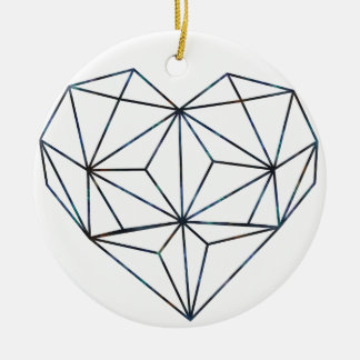 Ornamento De Cerâmica azul-galaky-Geo-coração