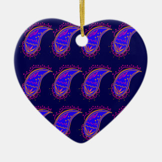Ornamento De Cerâmica AZUL Paisleys dos ELEMENTOS do DESIGN