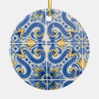 Ornamento De Cerâmica Azulejo do azul e do amarelo, Portugal