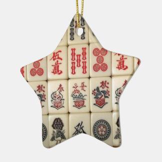 Ornamento De Cerâmica Azulejos e panda de Mahjong monogrammed