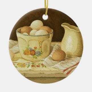 Ornamento De Cerâmica Bacia 1175 de ovos & de jarro