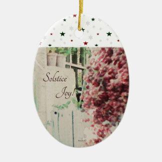 Ornamento De Cerâmica Bagas de dezembro da alegria do solstício de