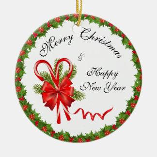 Ornamento De Cerâmica Bagas Natal do azevinho e bastões de doces