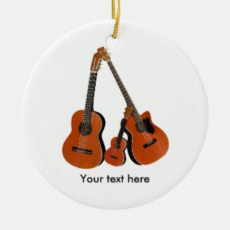 Ornamento De Cerâmica Baixo acústico e Ukulele da guitarra popular