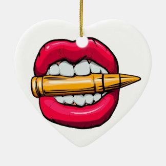 Ornamento De Cerâmica bala na boca