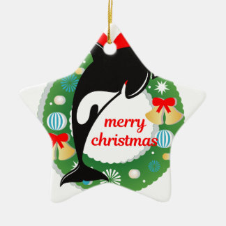 Ornamento De Cerâmica baleia de assassino do Feliz Natal