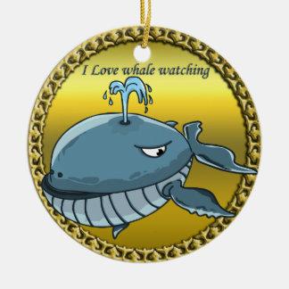 Ornamento De Cerâmica baleia que olha para o gigante que flutua baleias