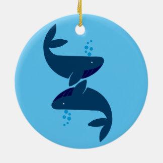 Ornamento De Cerâmica baleias azuis