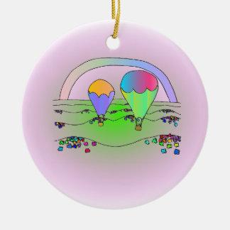 Ornamento De Cerâmica Balões de ar quente do arco-íris
