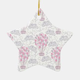 Ornamento De Cerâmica Balões de ar quente na arte cor-de-rosa do