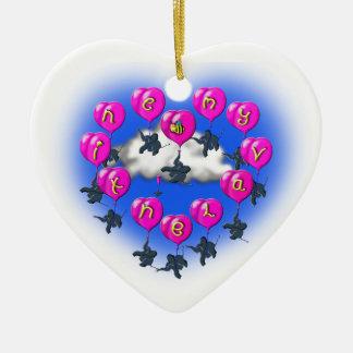 Ornamento De Cerâmica baloons dos namorados com elefantes