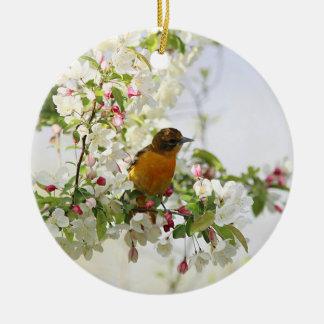 Ornamento De Cerâmica Baltimore Oriole e flores do primavera
