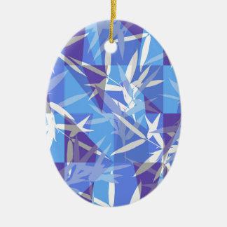 Ornamento De Cerâmica Bambu no teste padrão geométrico azul