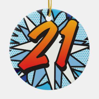 Ornamento De Cerâmica Banda desenhada 21 e azul do FELIZ ANIVERSARIO