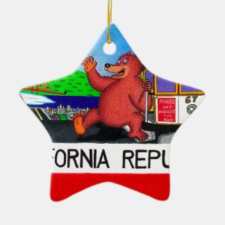 Ornamento De Cerâmica Bandeira 2 do urso de San Francisco Califórnia