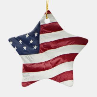 Ornamento De Cerâmica Bandeira americana, azul branco vermelho da
