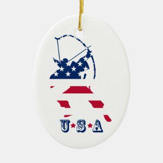 Ornamento De Cerâmica Bandeira americana do arqueiro do tiro ao arco dos