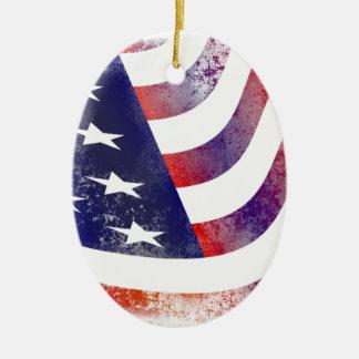 Ornamento De Cerâmica Bandeira americana do Grunge