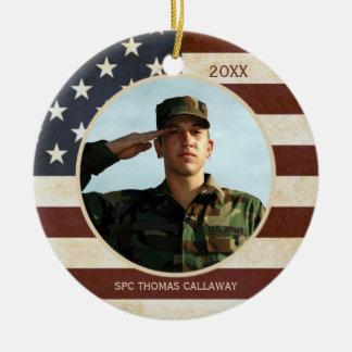 Ornamento De Cerâmica Bandeira americana do vintage com uma foto