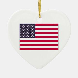 Ornamento De Cerâmica Bandeira americana (seu texto)