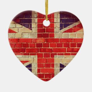 Ornamento De Cerâmica Bandeira BRITÂNICA do vintage em uma parede de