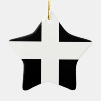 Ornamento De Cerâmica Bandeira da Cornualha de Piran Cornish do santo -