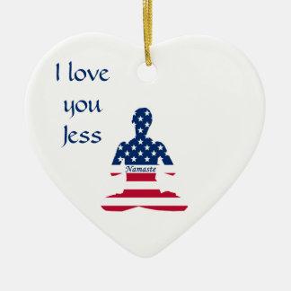 Ornamento De Cerâmica Bandeira da ioga do americano da meditação dos EUA