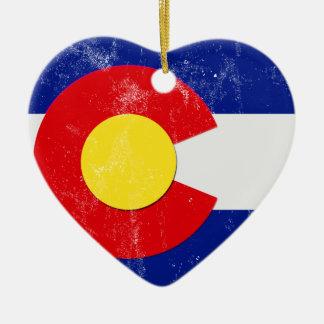Ornamento De Cerâmica Bandeira de Colorado afligida