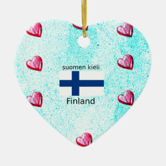 Ornamento De Cerâmica Bandeira de Finlandia e design finlandês da língua