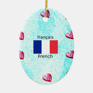 Ornamento De Cerâmica Bandeira de France e design da língua francesa
