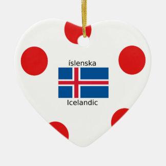 Ornamento De Cerâmica Bandeira de Islândia e design islandês da língua