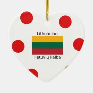 Ornamento De Cerâmica Bandeira de Lithuania e design lituano da língua
