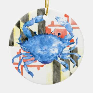 Ornamento De Cerâmica Bandeira de maryland da aguarela e caranguejo azul