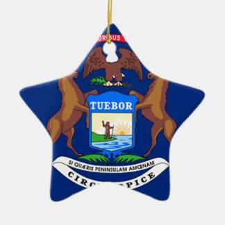 Ornamento De Cerâmica Bandeira de Michigan