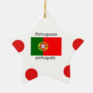 Ornamento De Cerâmica Bandeira de Portugal e design português da língua